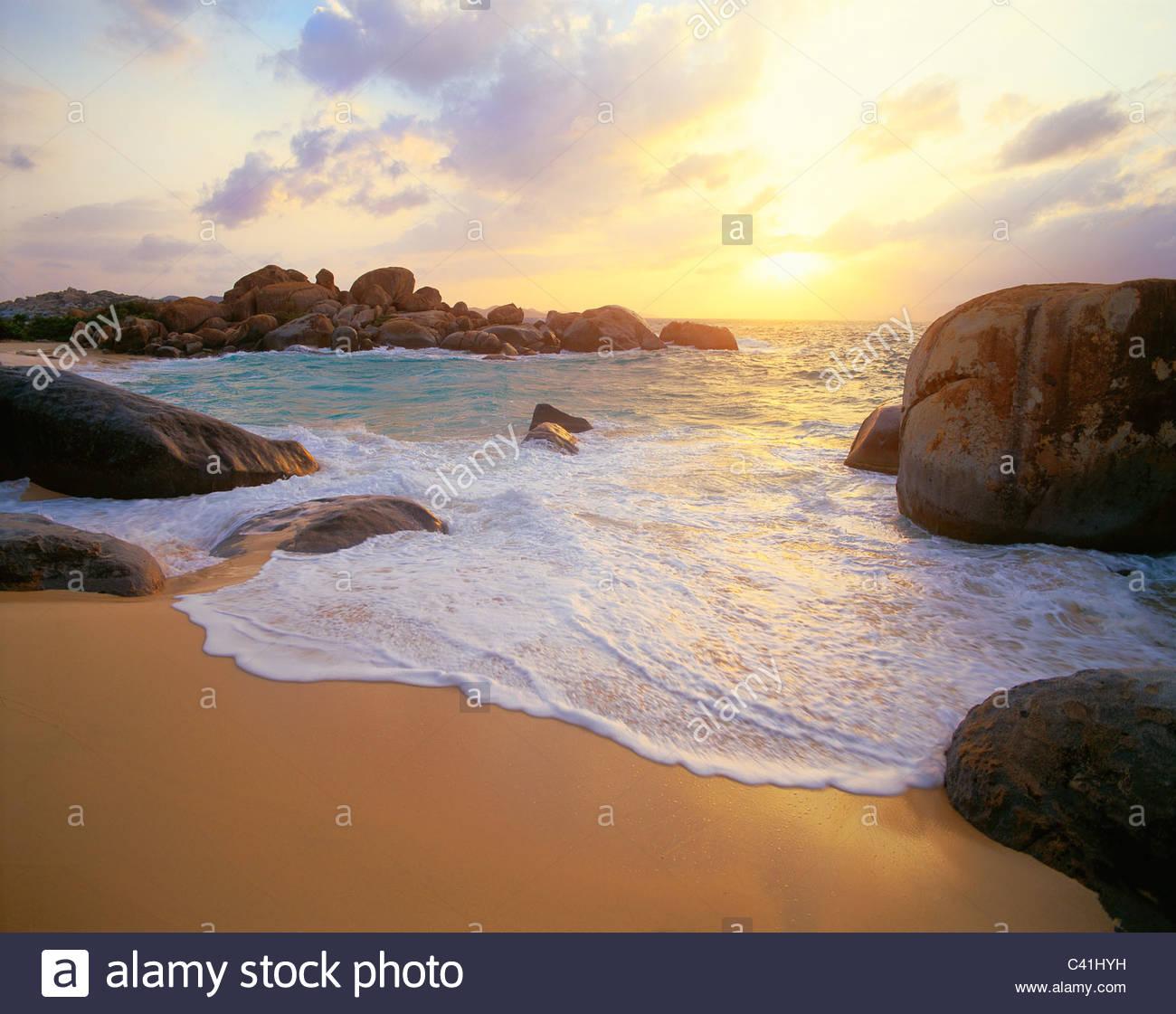 [Les Bains] au coucher du soleil. [L'île de Virgin Gorda] [Îles Vierges Britanniques] Caraïbes Banque D'Images