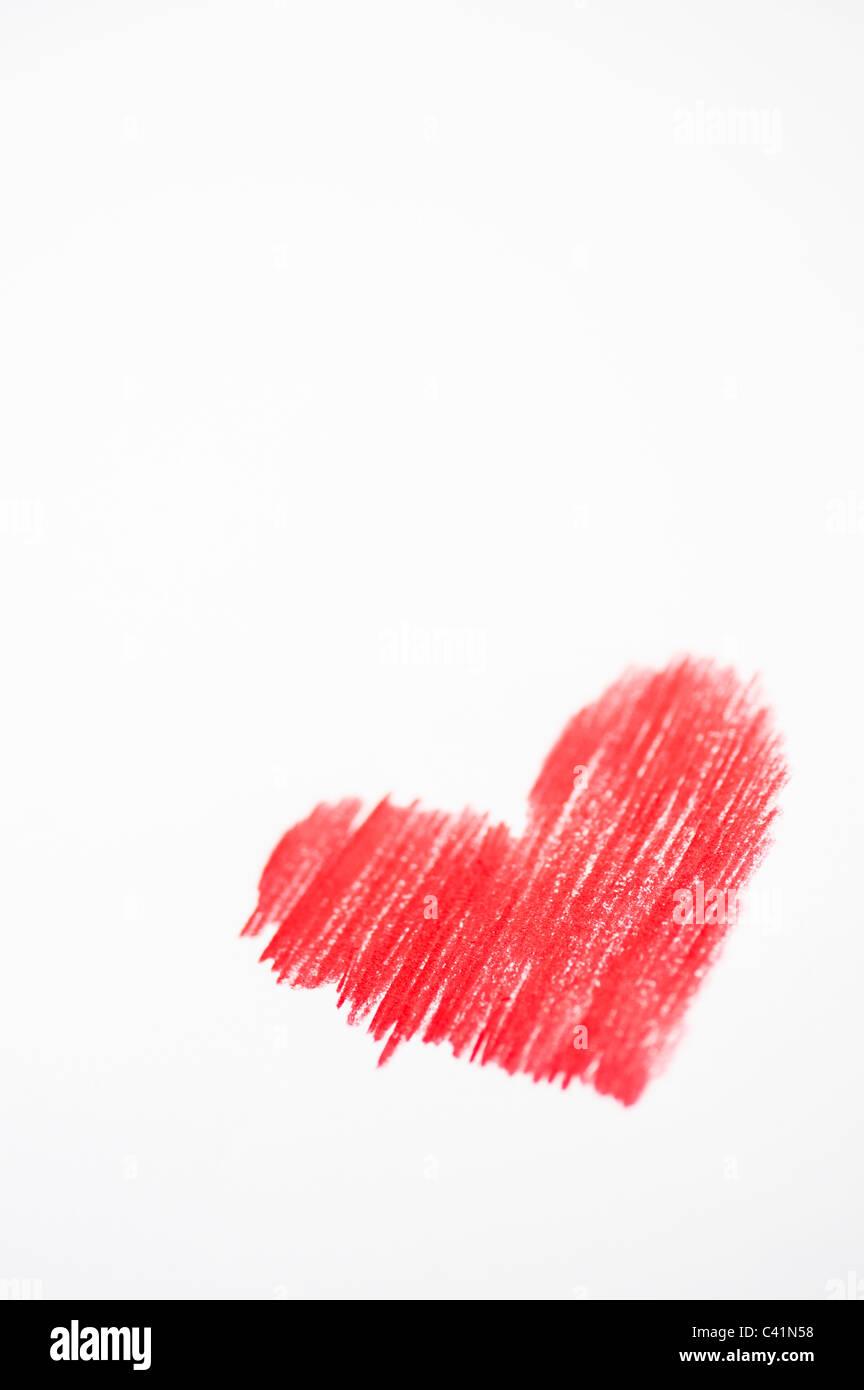 Couleur rouge amour coeurs. Dessin au crayon de couleur Photo Stock