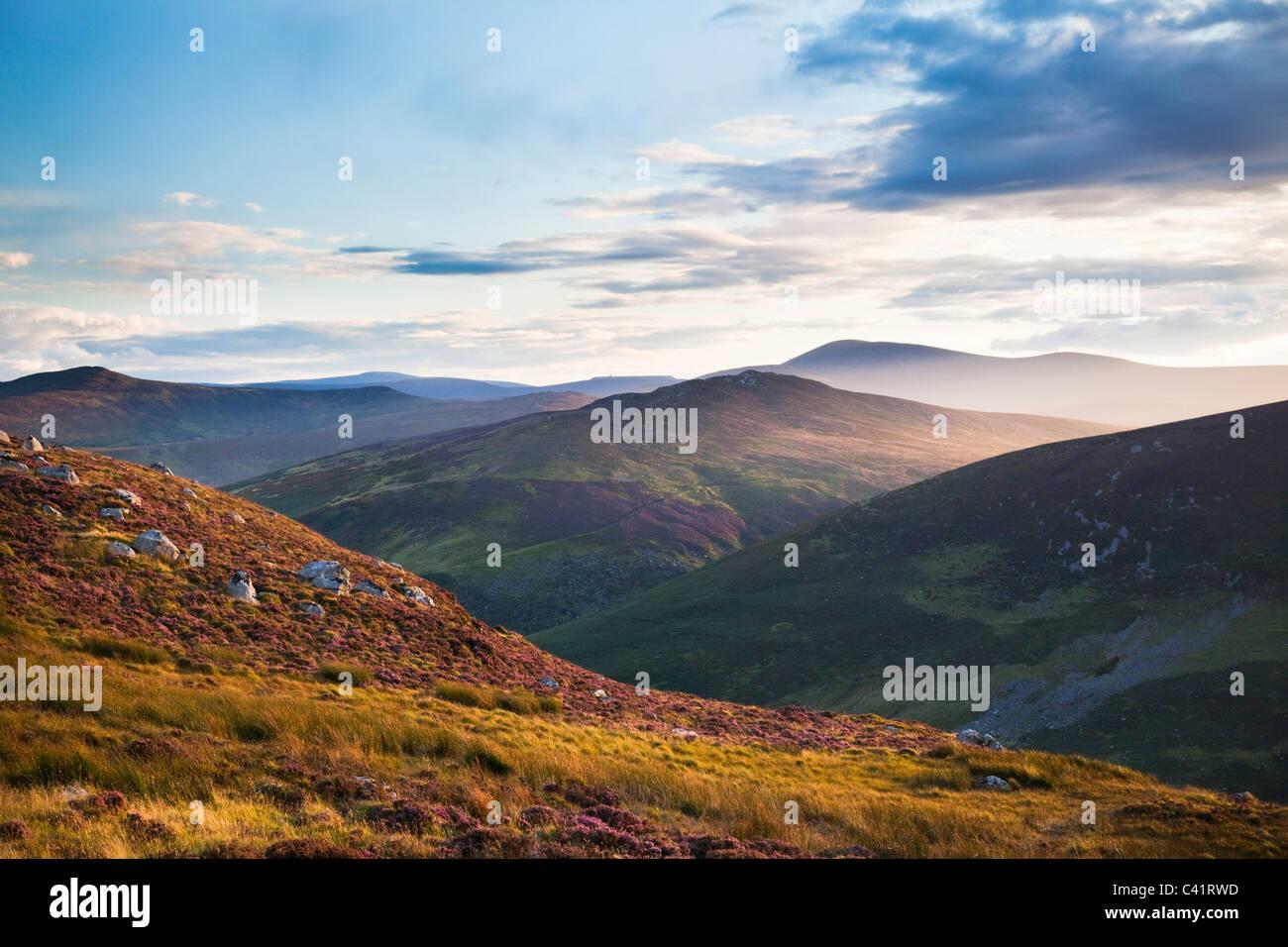 Soirée dans les montagnes de Wicklow, comté de Wicklow, en Irlande. Photo Stock