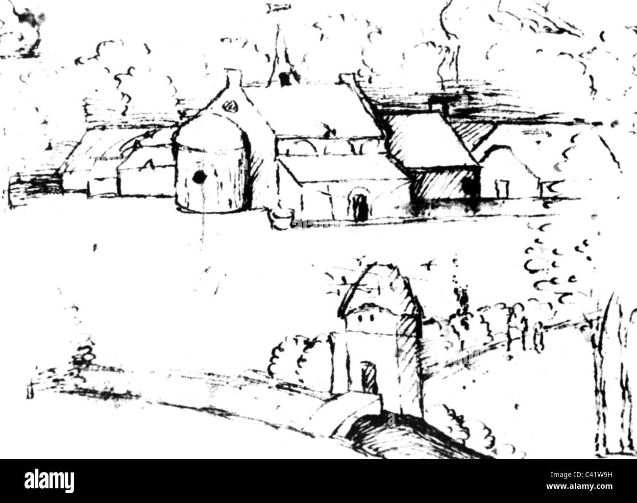 La médecine, les hôpitaux, l'hôpital des Frères de Saint Antoine, Stylo dessin, peinture, Photo Stock