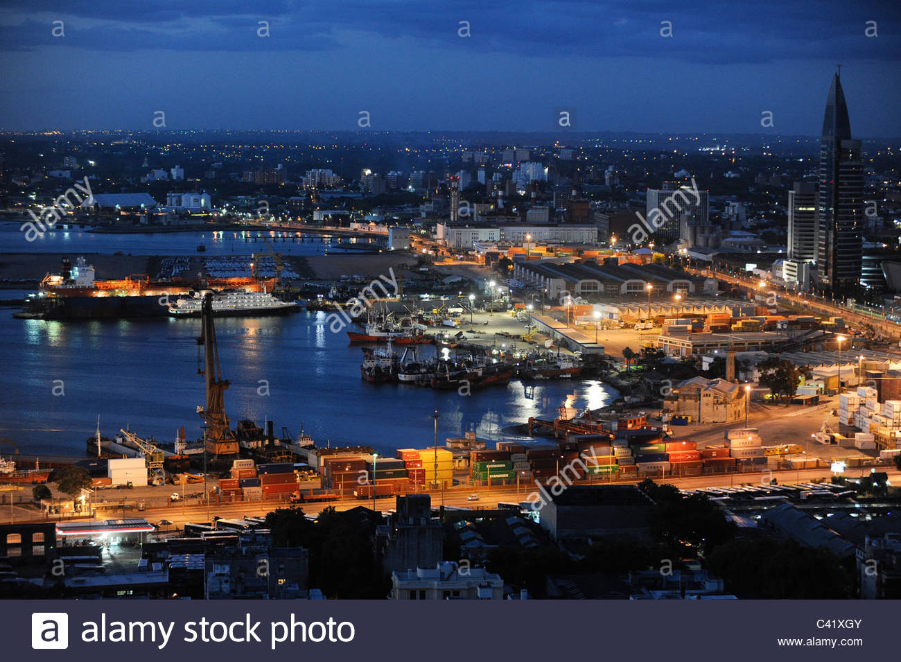 L'Uruguay Montevideo vue de Palacio Salvo à Plaza de Independencia du port de Rio del la Plata Photo Stock