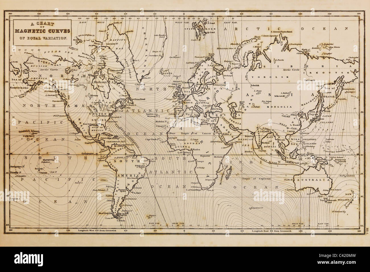 Photo d'une véritable carte du monde dessiné à la main, il a été tiré en 1844 Photo Stock