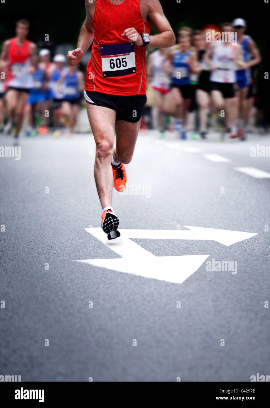 Les coureurs de marathon - blurred motion Photo Stock