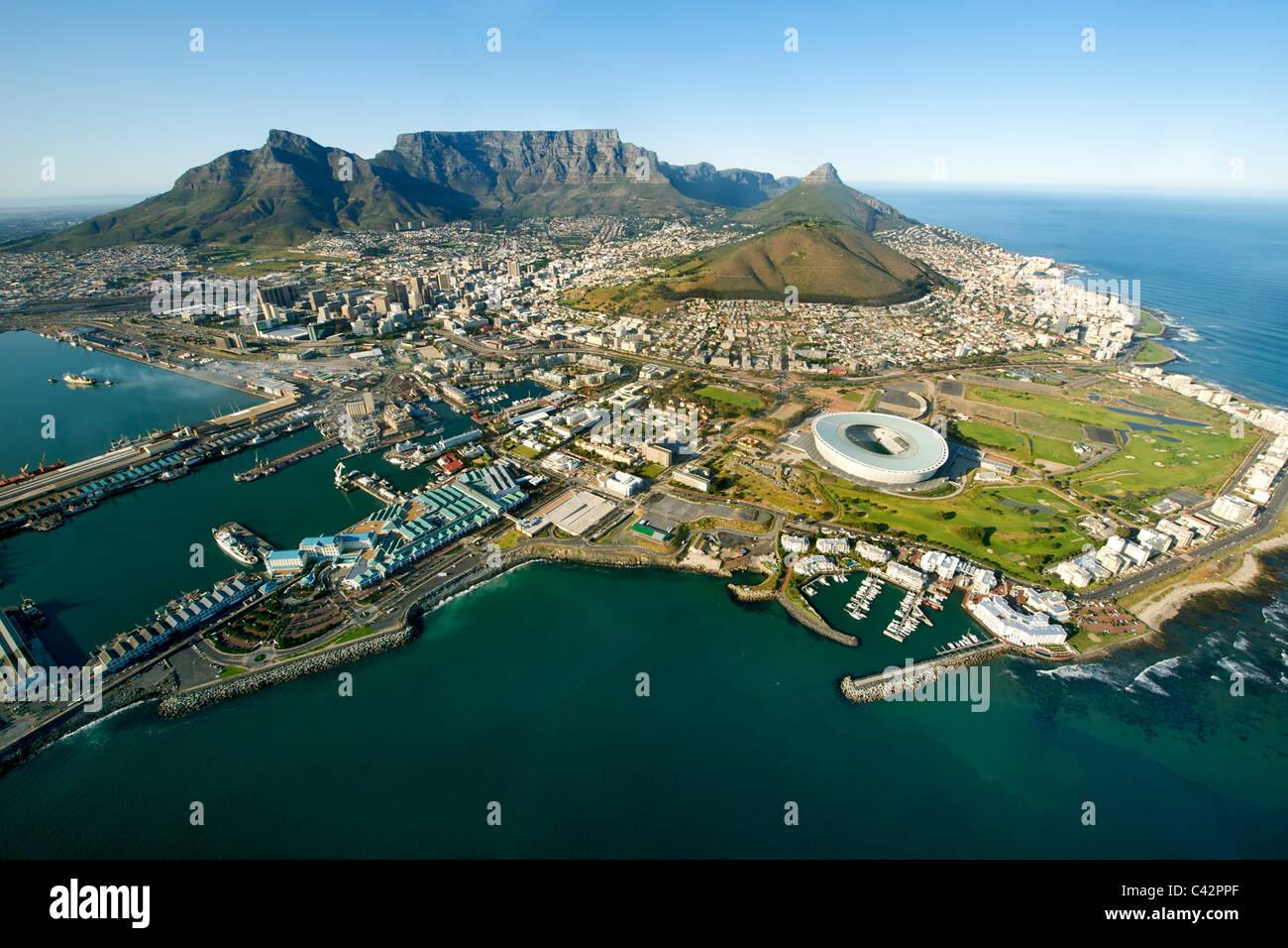 Vue aérienne de la ville de Cape Town, Afrique du Sud. Photo Stock