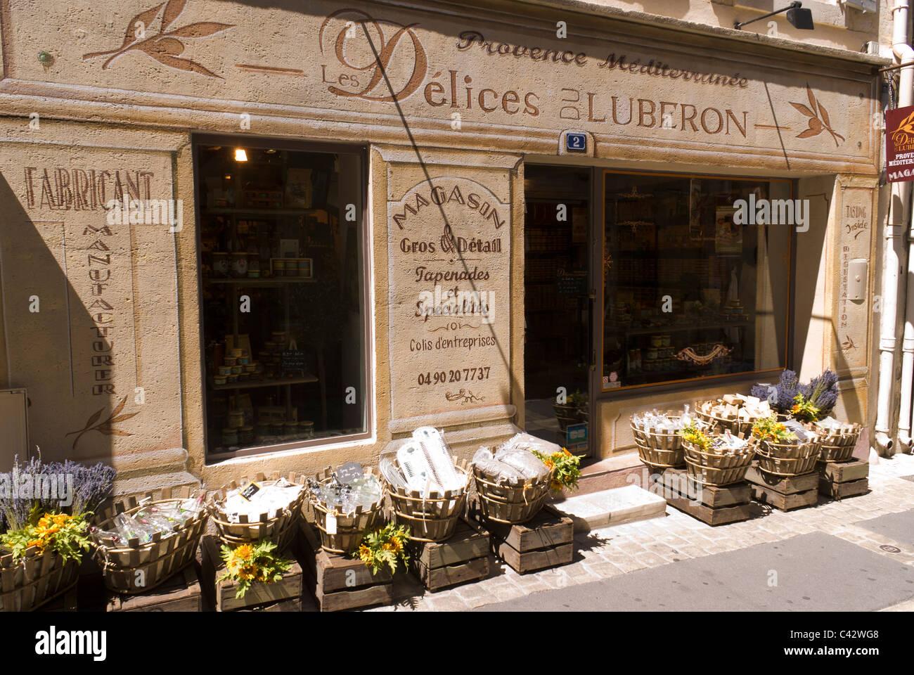 """""""Les Délices du Luberon', magasin de vente de produits locaux dans Aix-en-Provence, France. Photo Stock"""
