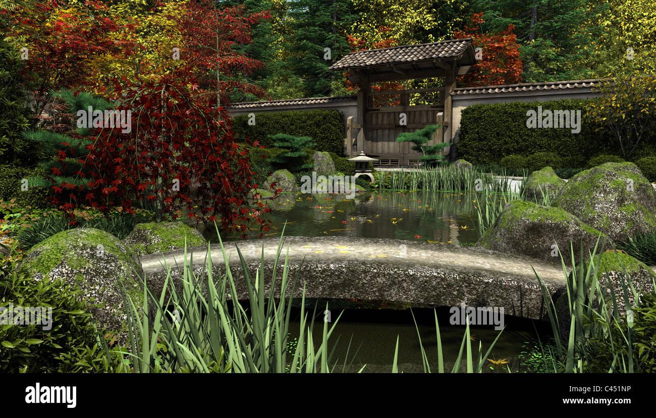 Le Jardin japonais et bassin à Koi, automne Banque D\'Images, Photo ...