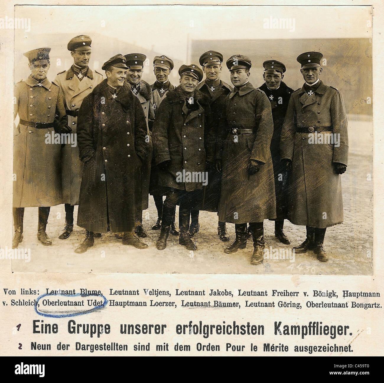 Ernst Udet avec ses camarades dans la Première Guerre mondiale Photo Stock