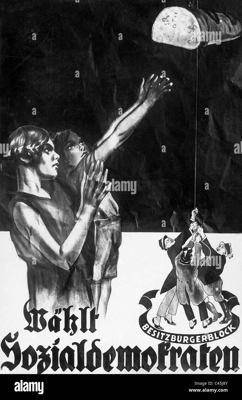 Affiche électorale du SPD dans les années 30 Photo Stock