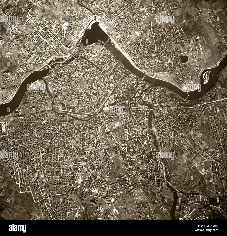 Carte aérienne historique voir Lowell Massachusetts 1938 Photo Stock