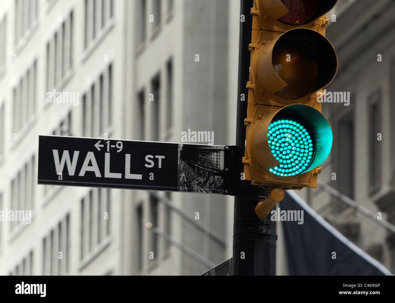 La région de Wall Street à New York City's financial district abrite la Bourse de New York. Photo Stock