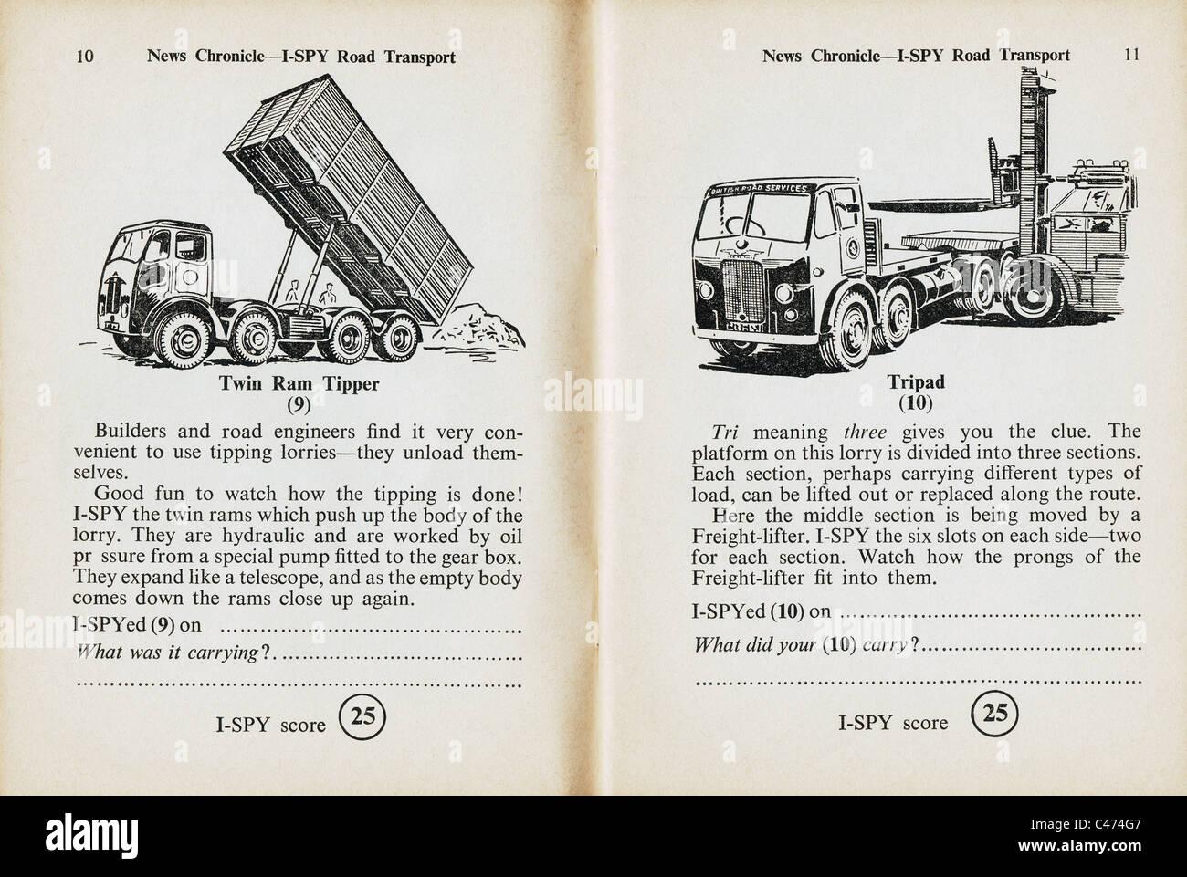 Pages de I-Spy book du transport routier publié par le Daily News en 1960 Banque D'Images