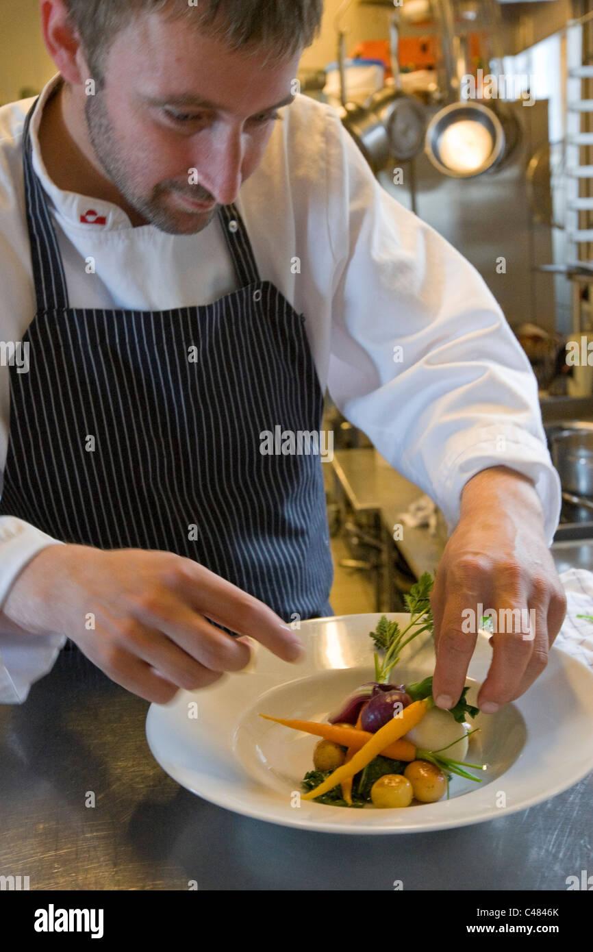 Le chef de l'Nipisa Restaurant à Nuuk, Groenland. Photo Stock