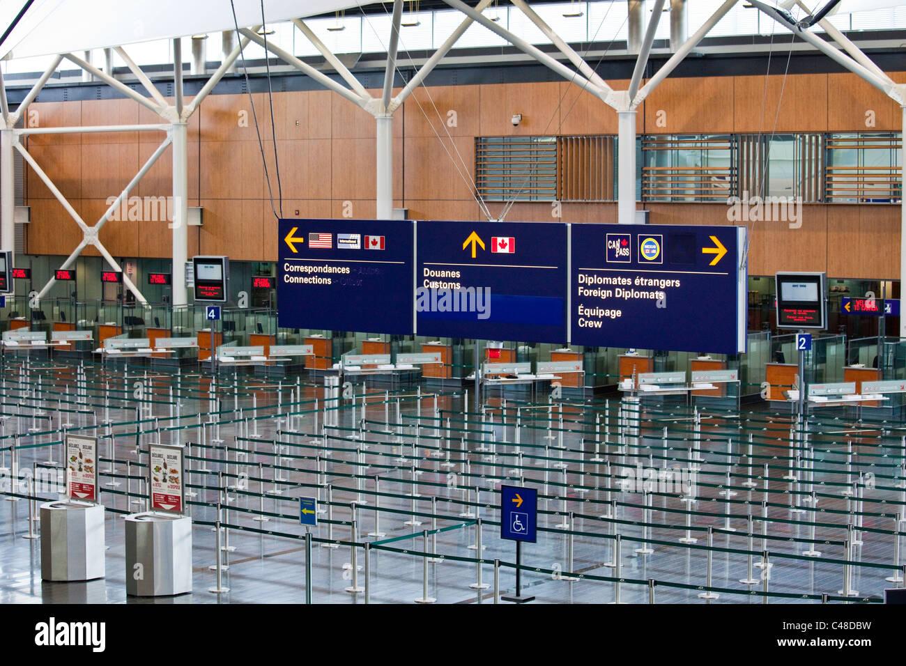 Les douanes et l'Immigration, Montréal Pierre Elliott Trudeau International Airport, YUL, Montréal, Photo Stock