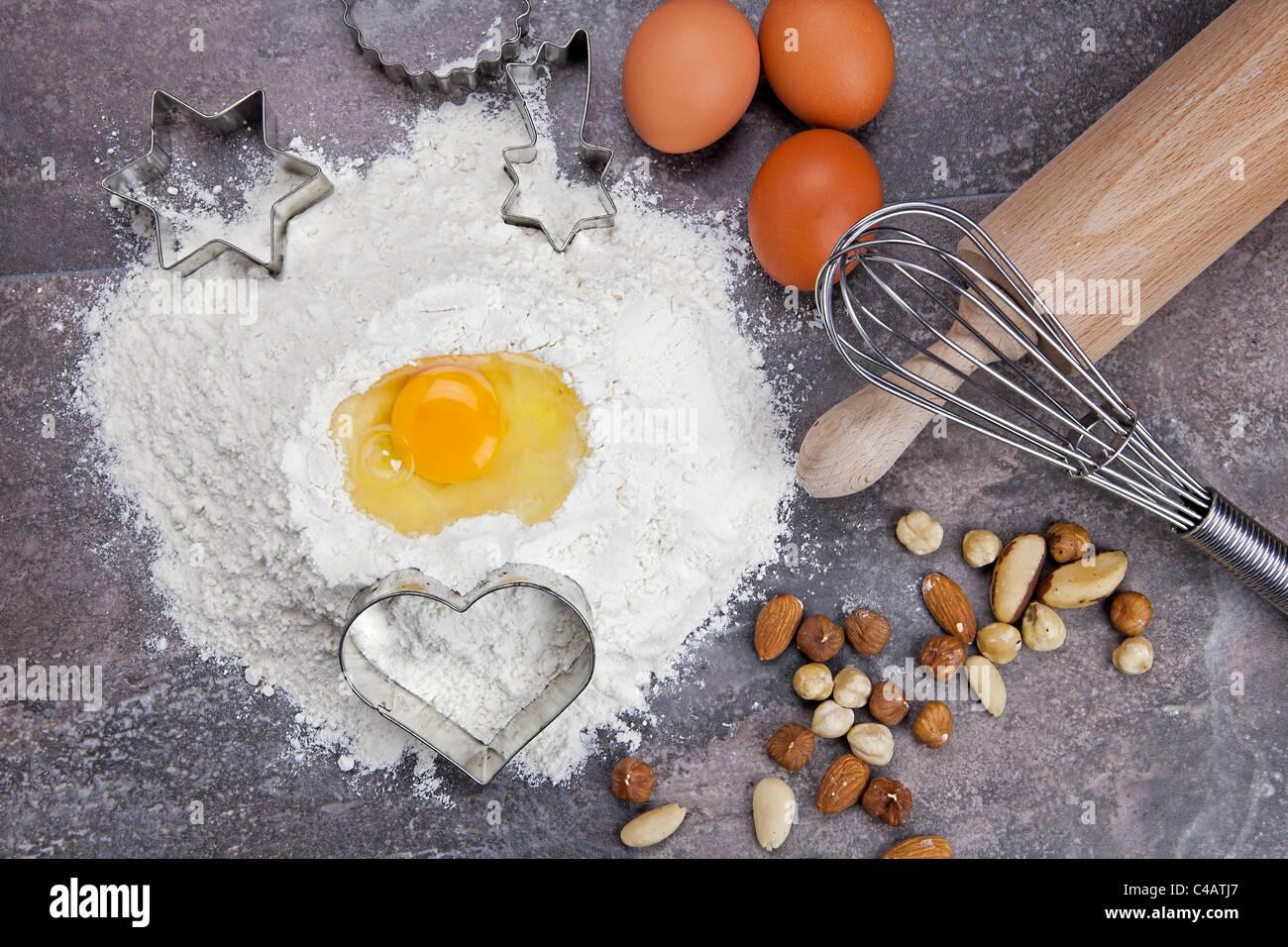 Ingrédients de base pour la préparation de la pâte à cookies Photo Stock
