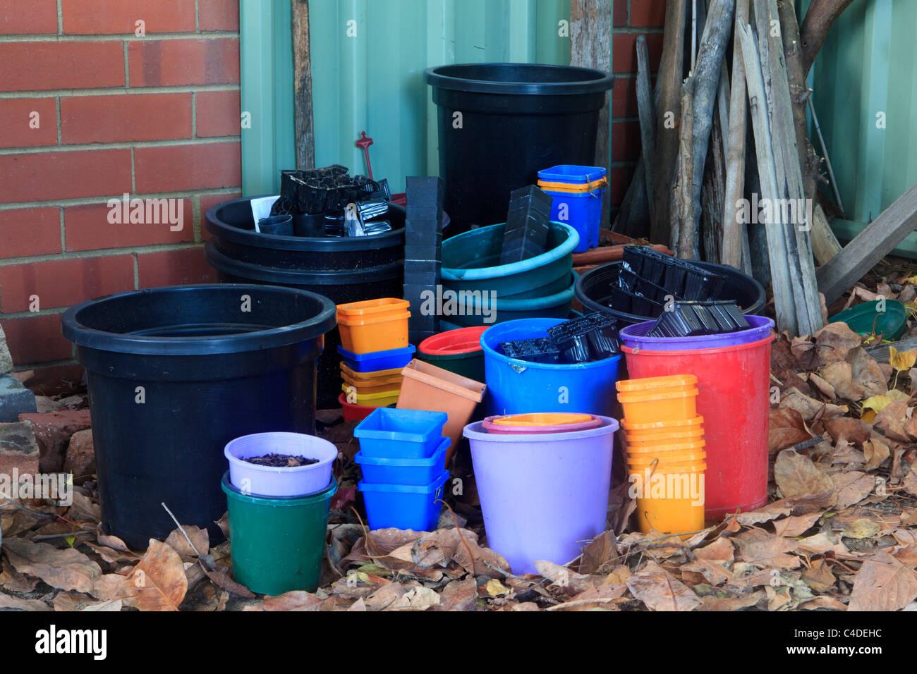Pots en plastique Photo Stock