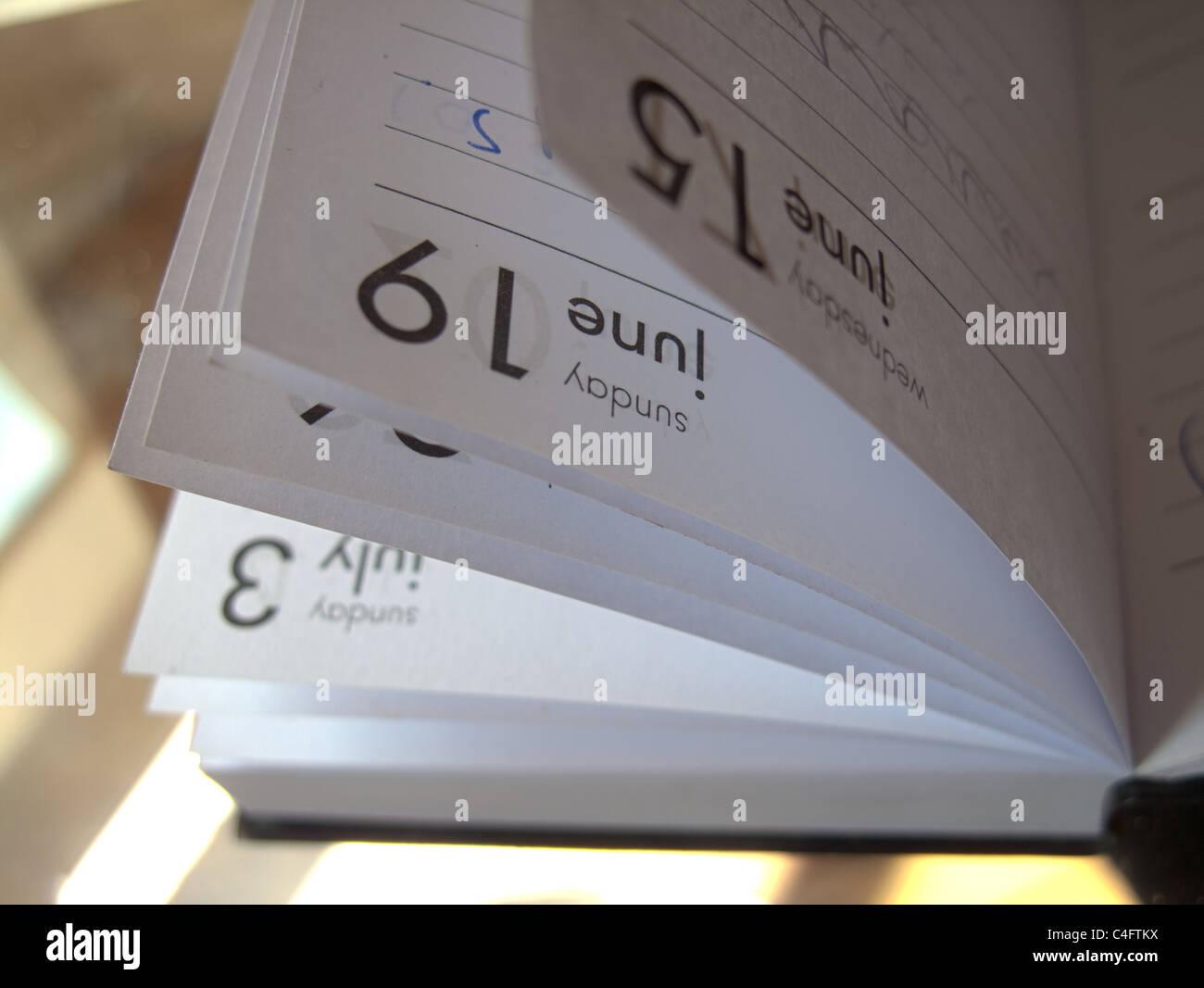 Journal annuel poche ouverte sur une table en verre en soleil Photo Stock