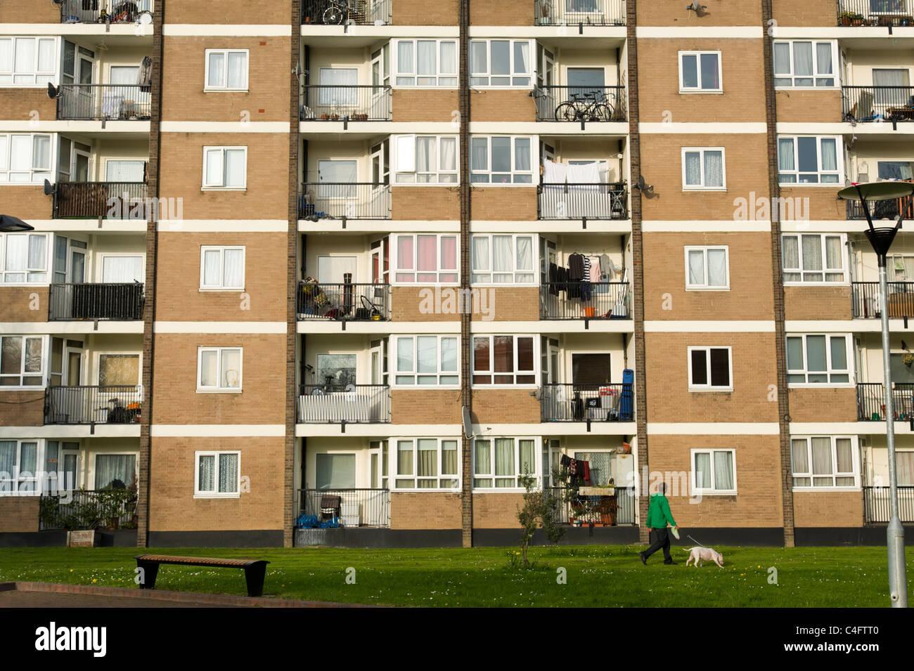 Conseil de bloc appartements, Hackney, Londres, UK Banque D'Images