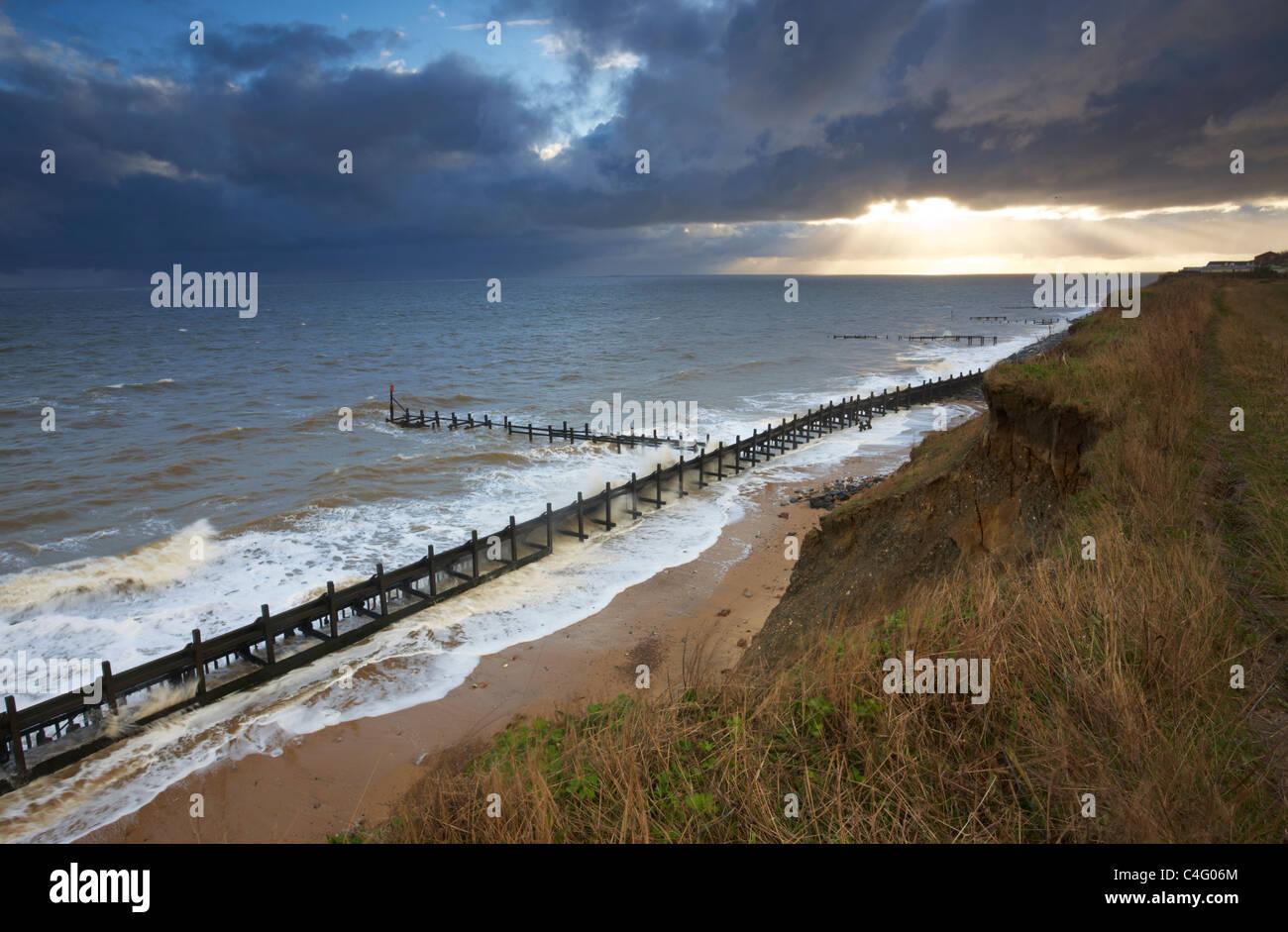 Conditions de tempête à Corton sur la côte du Suffolk Photo Stock