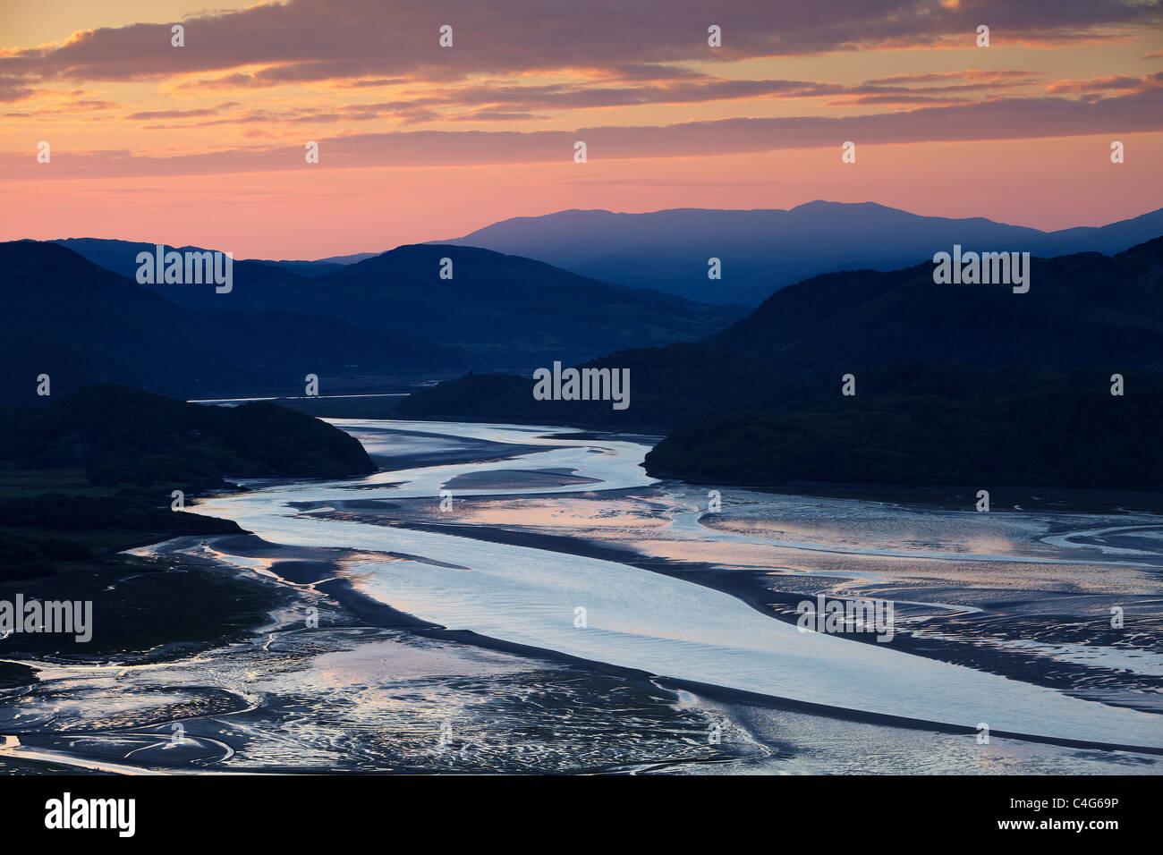 L'estuaire de Mawddach à l'aube, Galles Photo Stock