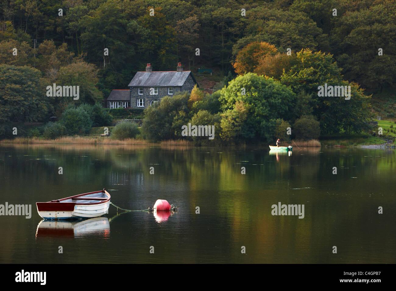 Tal-y-Llyn avec pêcheur, Gwynedd, Galles Photo Stock