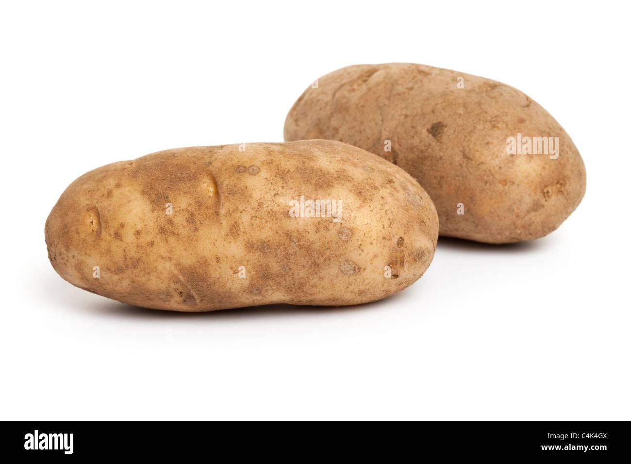 De pommes de terre roussâtres avec fond blanc Photo Stock