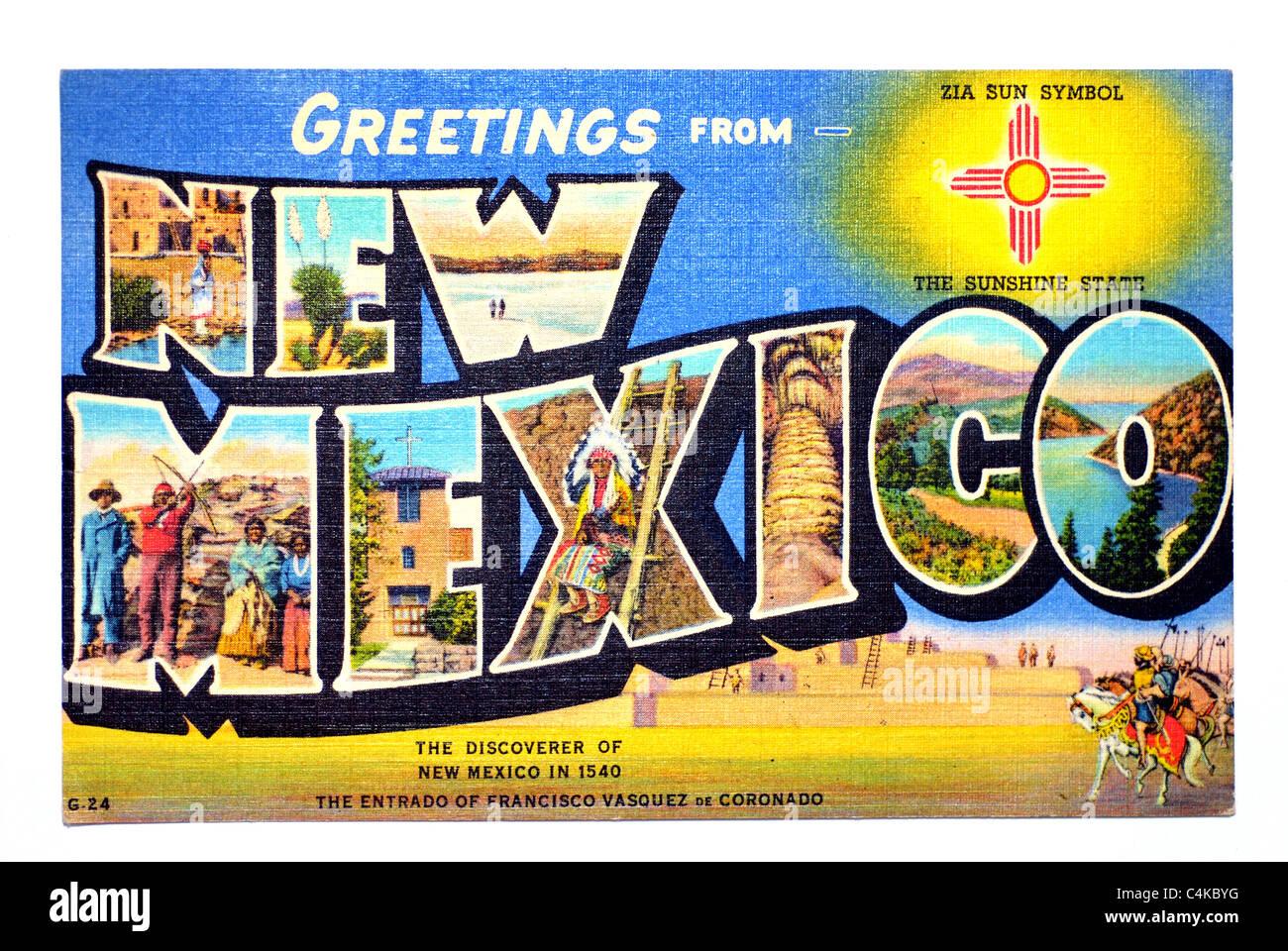 Salutations du Nouveau Mexique Carte postales anciennes Photo Stock