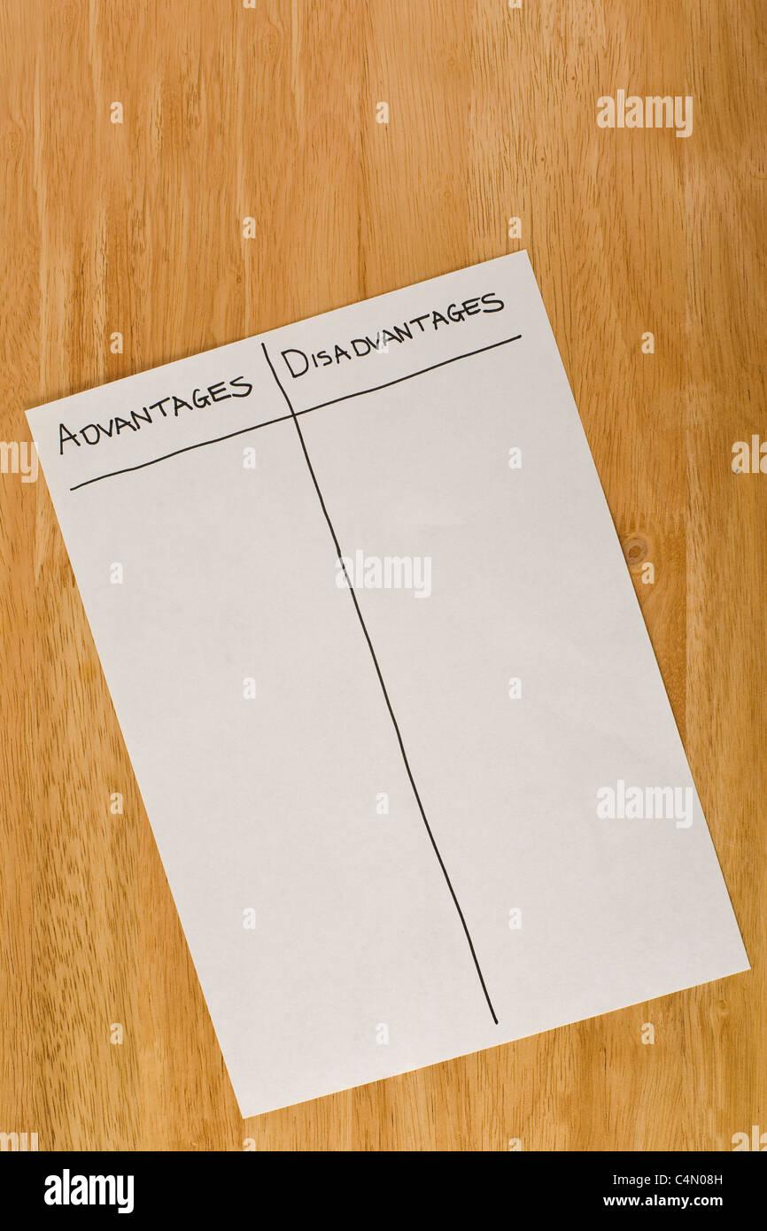 Blank liste des avantages et inconvénients allongé sur une table de réunion Photo Stock