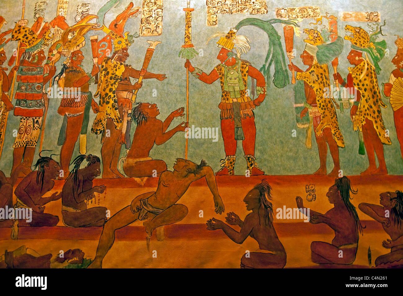 Fresque murale représentant la mythologie maya à l'Antigua Casa Santa Domingo couvent est réplique Photo Stock