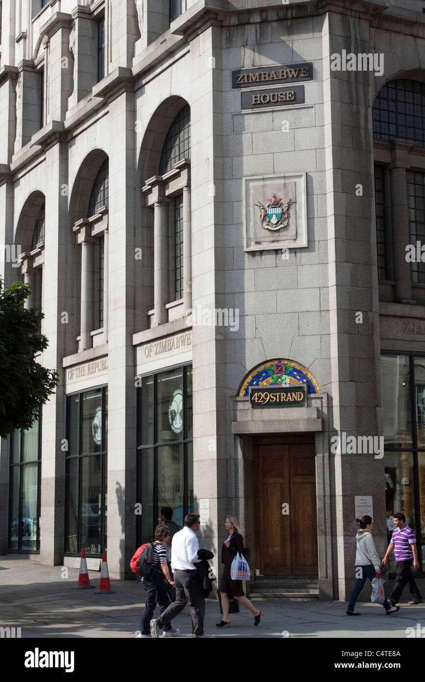 Zimbabwe House, accueil de l'Ambassade du Zimbabwe, The Strand, London, England, UK Photo Stock