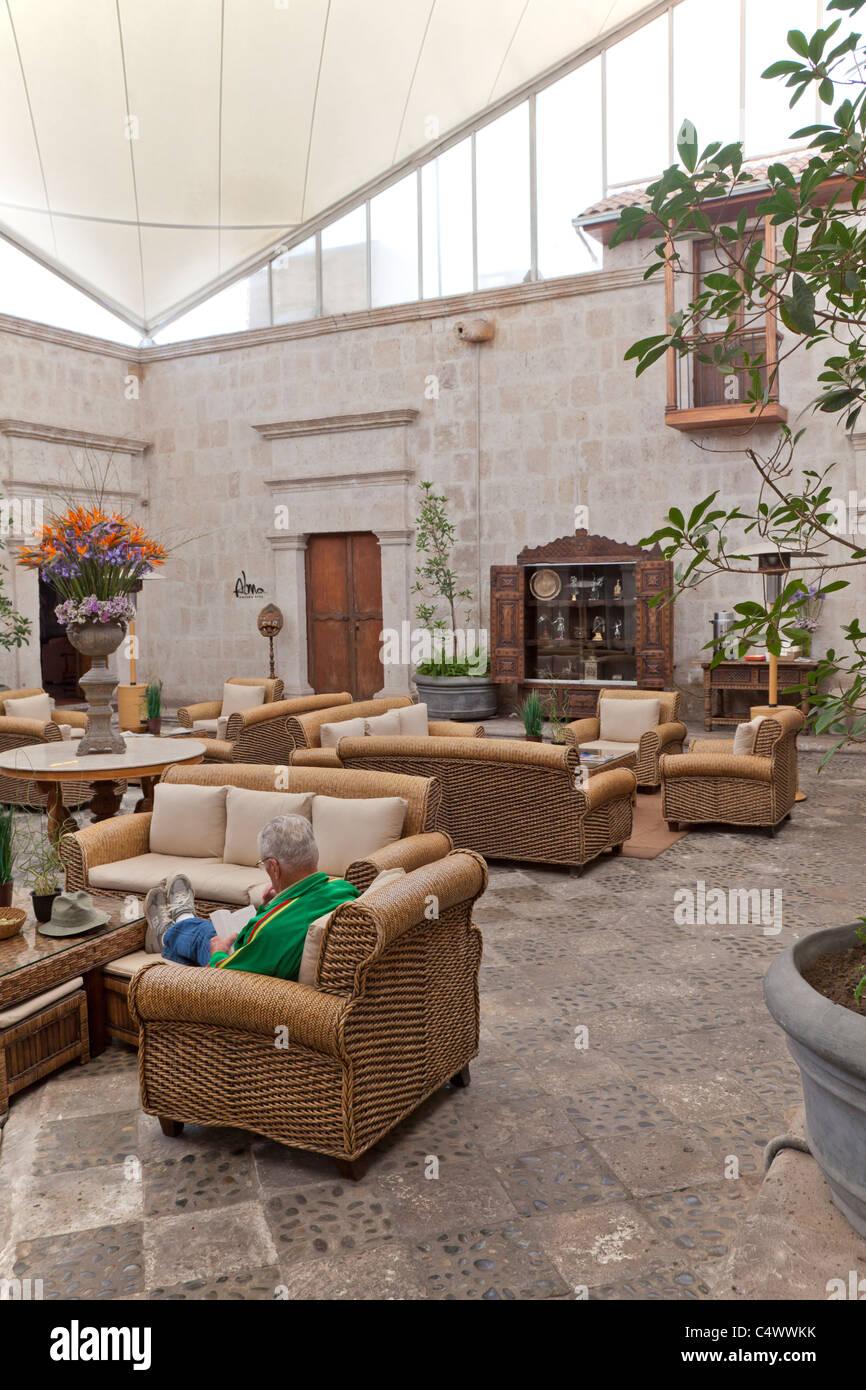 Intérieur de l'hôtel Casa Andina Private Collection Arequipa, Pérou Banque D'Images