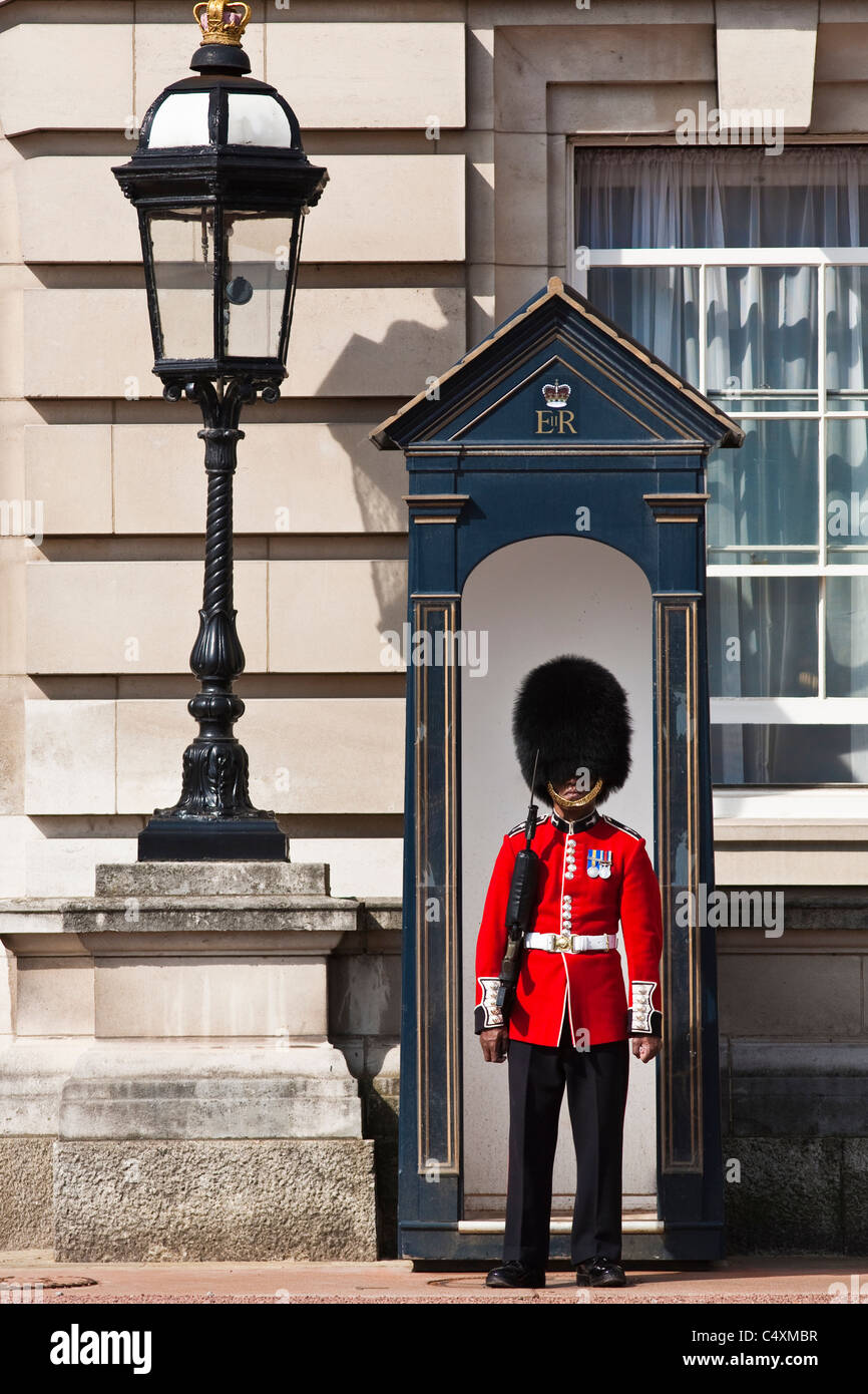 Guardsman gallois sur tour de garde au palais de Buckingham Photo Stock