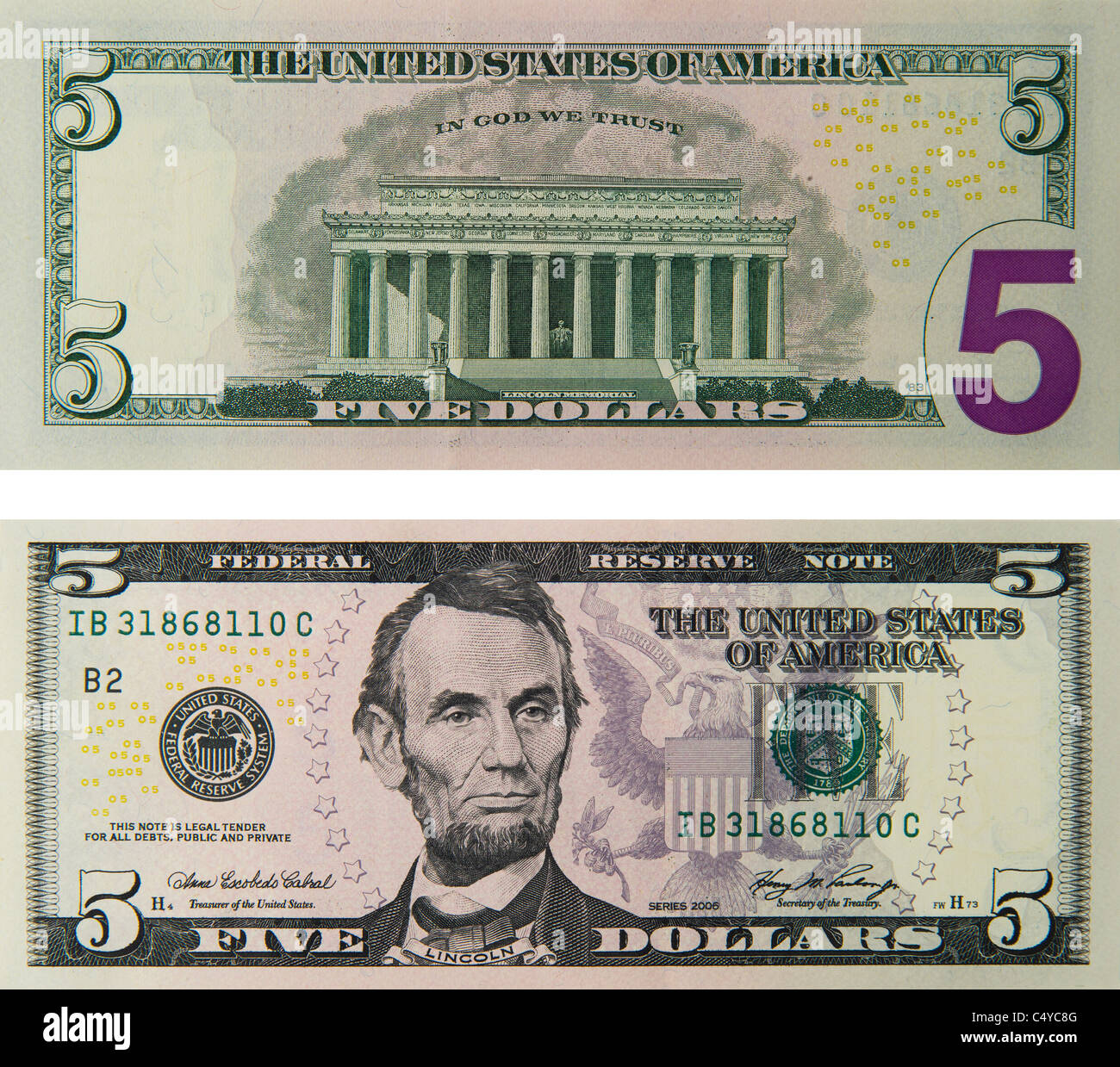 5 cinq dollars note note de la loi. Photo Stock