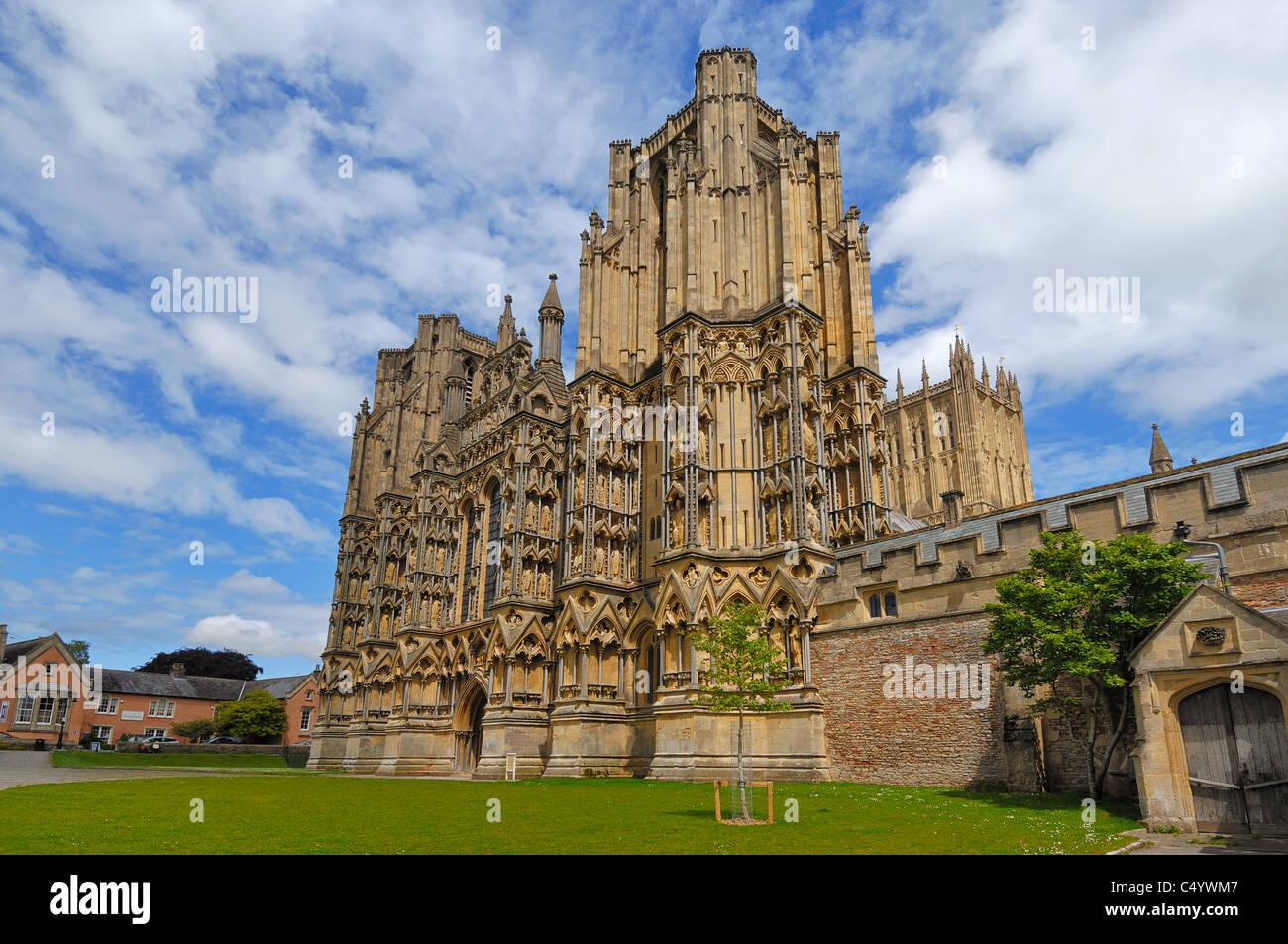 """Construit entre 1175 et 1490, la cathédrale de Wells a été décrit comme """"la plus poétique de la cathédrales. Banque D'Images"""
