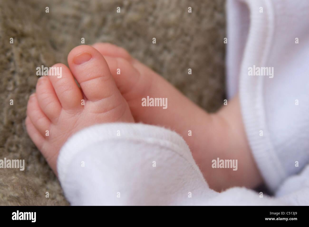 Les pieds de bébé, close-up Photo Stock