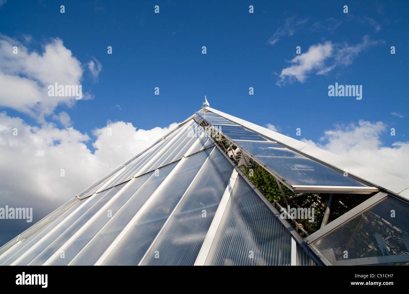 Système de ventilation serre utilise des fenêtres en verre à moteur pour le refroidissement de l'air Photo Stock