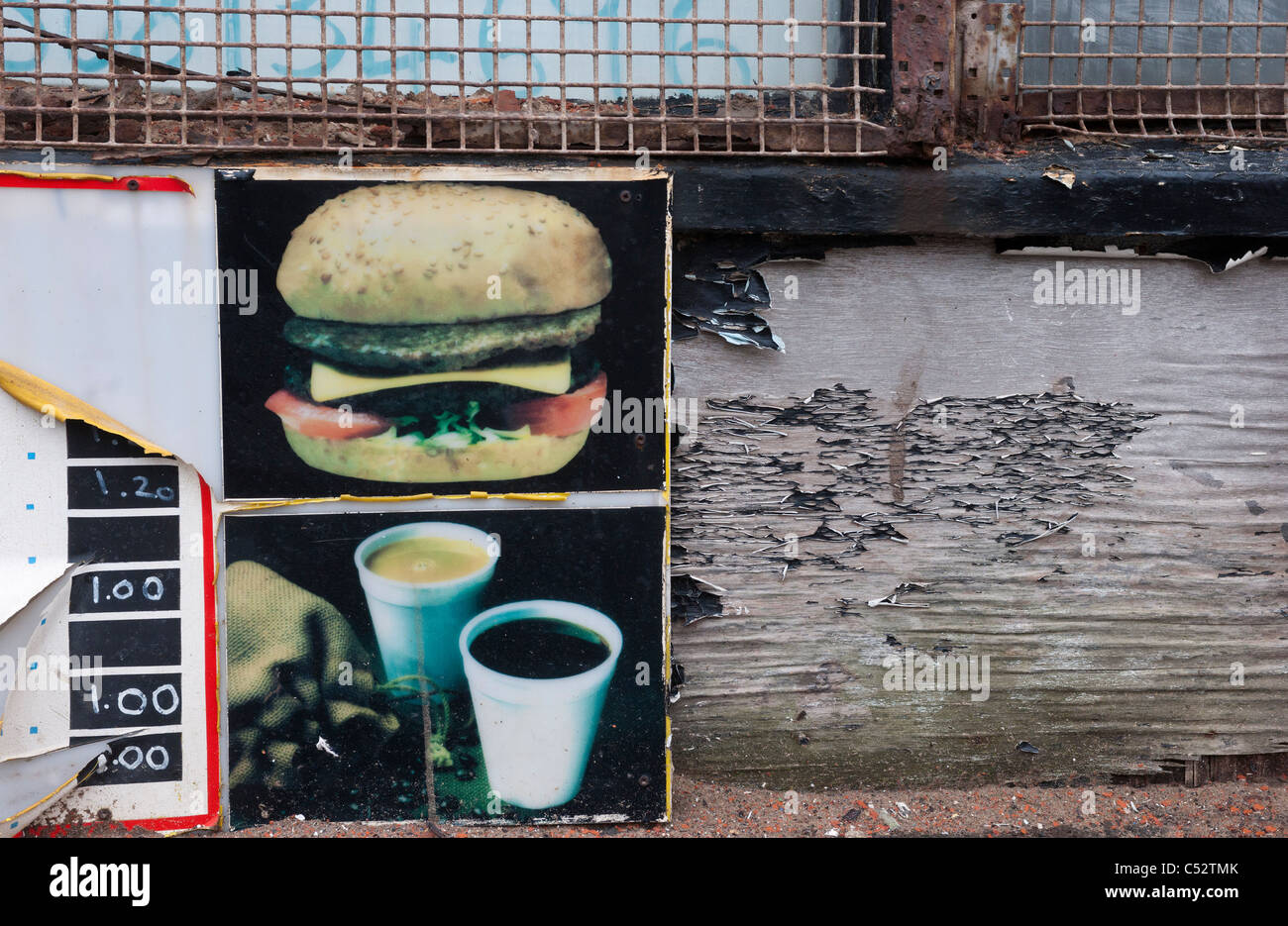Vieille enseigne de fast-food Photo Stock