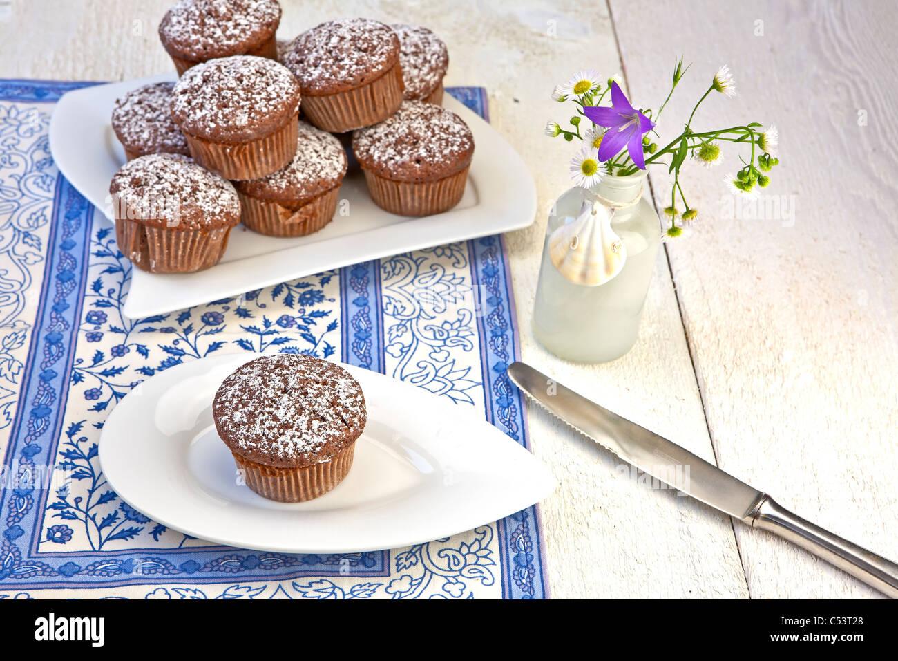 Des petits muffins au chocolat saupoudré de sucre en poudre Photo Stock