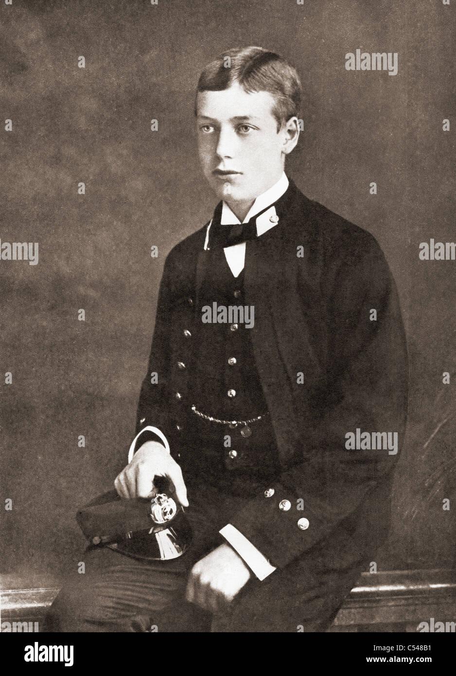 George, plus tard le roi George V, en tant qu'aspirant de 15 ans en 1880. Photo Stock