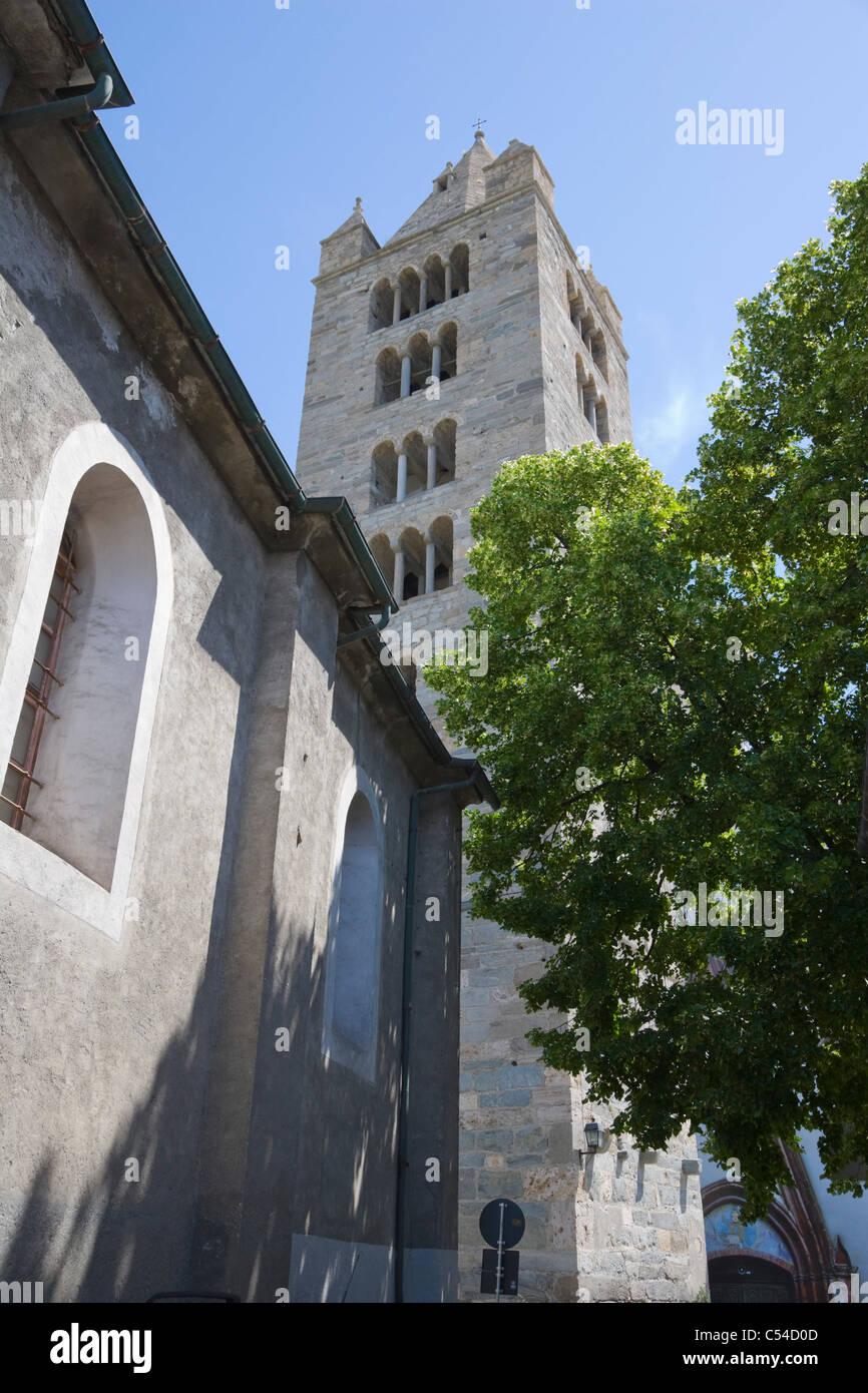 L'ancienne collégiale de Saint Ours, Collegiata di Sant'Orso, Aoste, vallée d'Aoste, Val d'aoste, Photo Stock