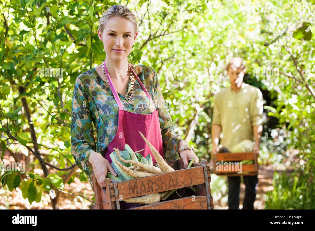 Smiling woman holding un cageot de radis Photo Stock
