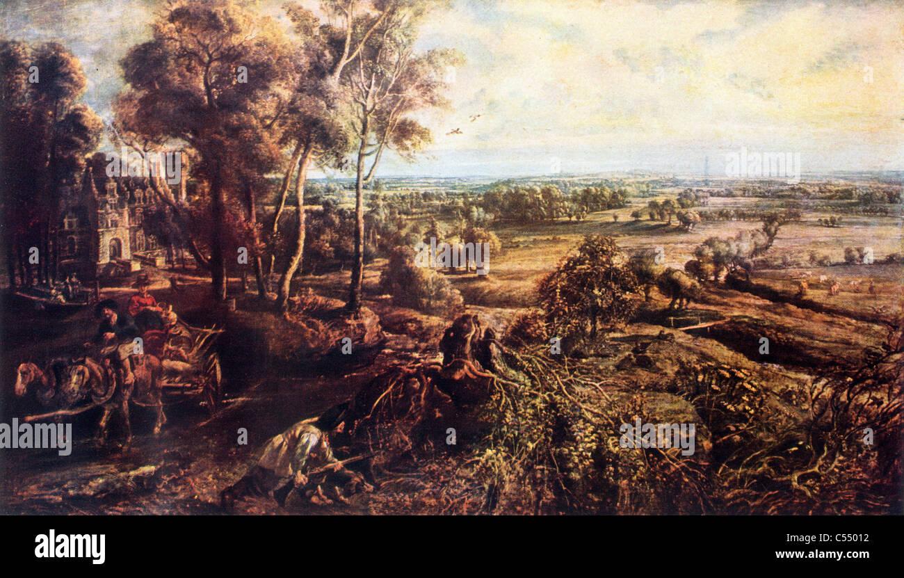 Paysage, automne, avec une vue sur le château de Steen; peinture de Sir Peter Paul Rubens, la fin de Photo Stock