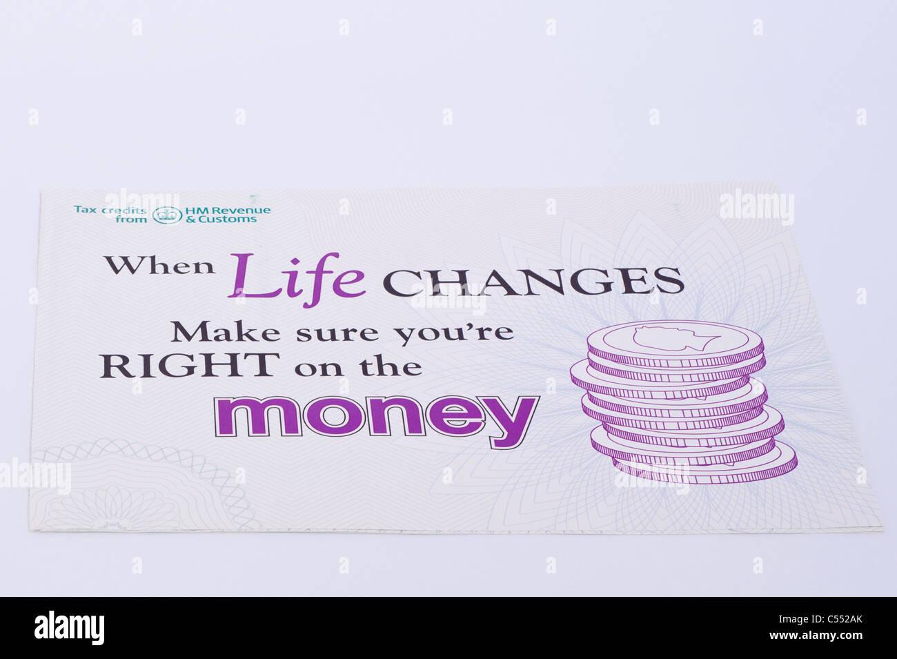 Un tract de HM Revenue and Customs, de rappeler aux gens de mettre à jour les changements de vie pour eux si Photo Stock