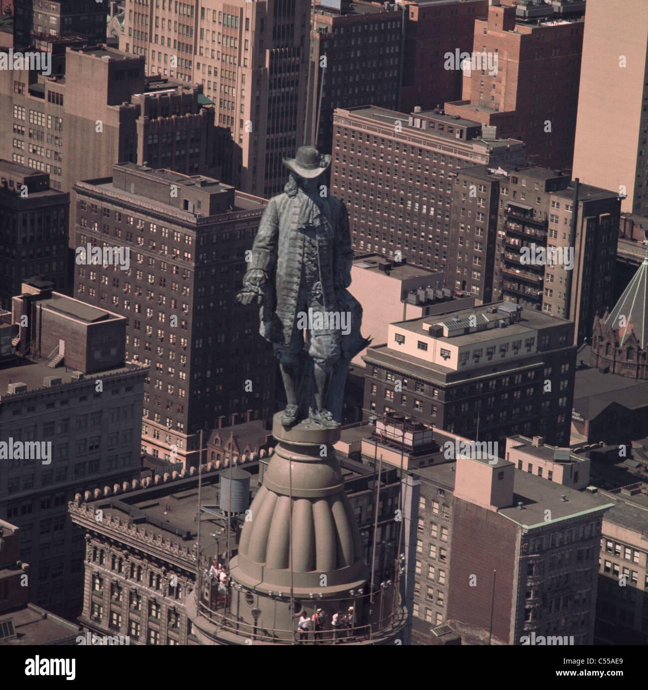 USA, New York, Philadelphie, l'Hôtel de Ville, statue de William Penn Banque D'Images