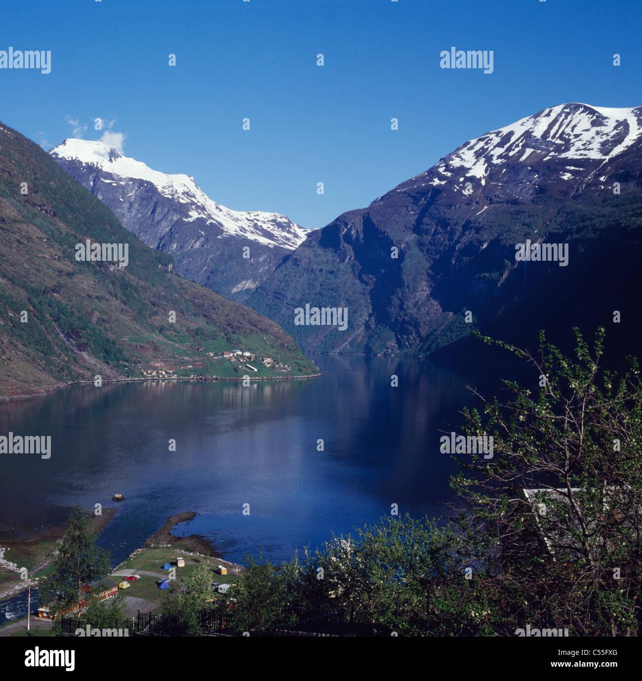 La Norvège, vue panoramique sur Geirangerfjord Banque D'Images
