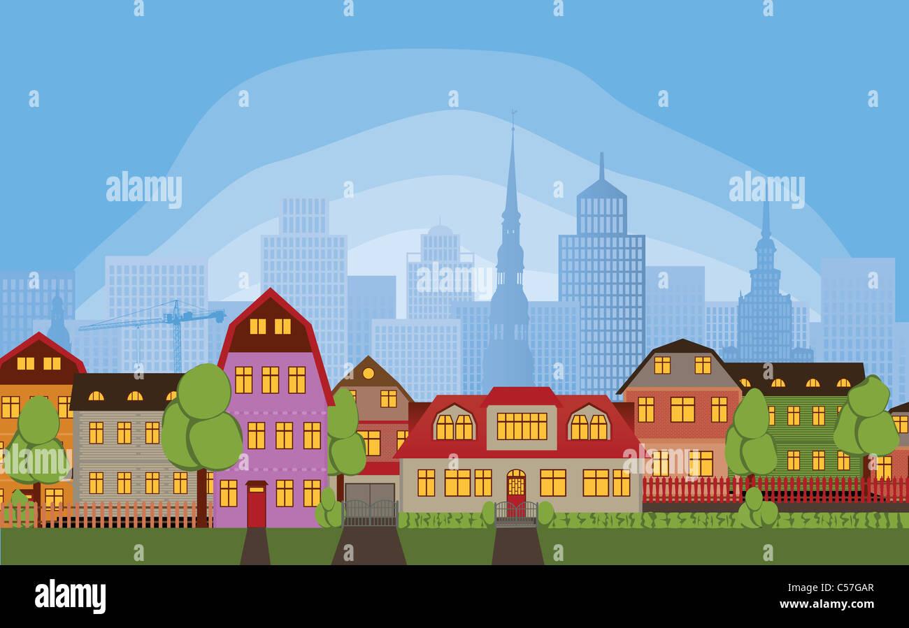 Rangée de maisons dans le tranquille quartier de grande ville animée Photo Stock