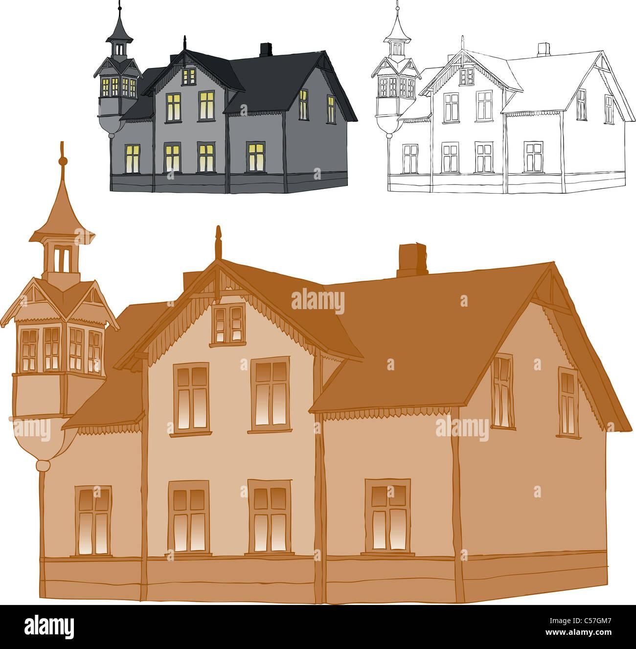 Ancienne maison de famille romantique trace de dessin libre seulement un colur utilisée pour faciliter le changement de couleur