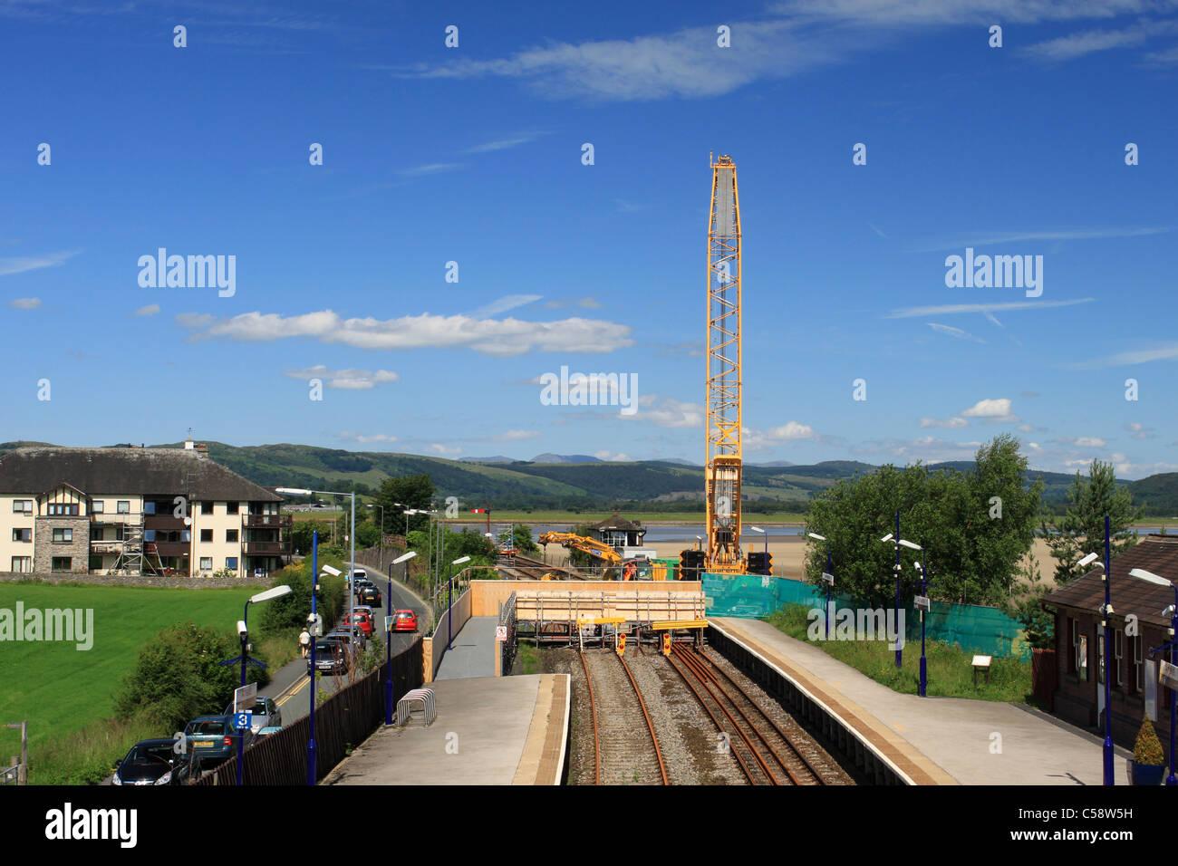 Blocus de Furness Line à Arnside pendant le travail pour remplacer le pont Viaduc à Arnside. Photo Stock