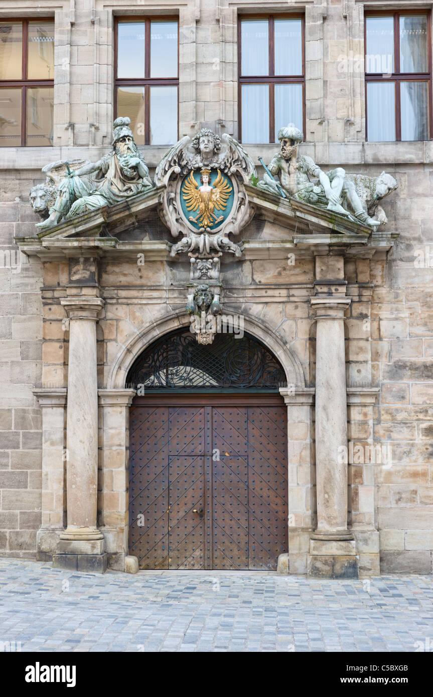 Entrée de l'hôtel de ville de Nuremberg Photo Stock
