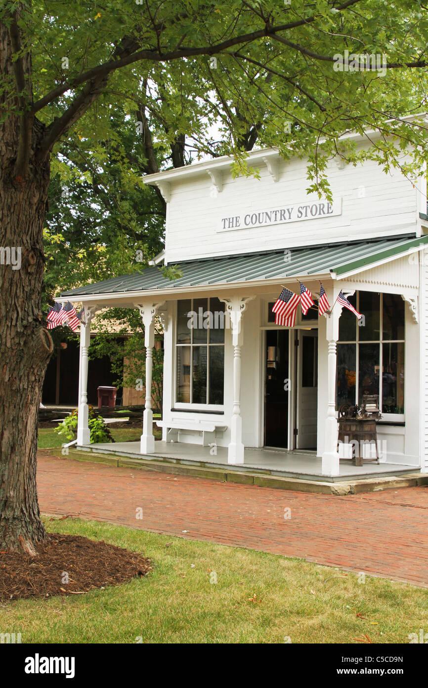 Le Country Store. Western Réserver Village au Canfield juste. Foire du Comté de Mahoning. Canfield, Ohio, USA. Banque D'Images