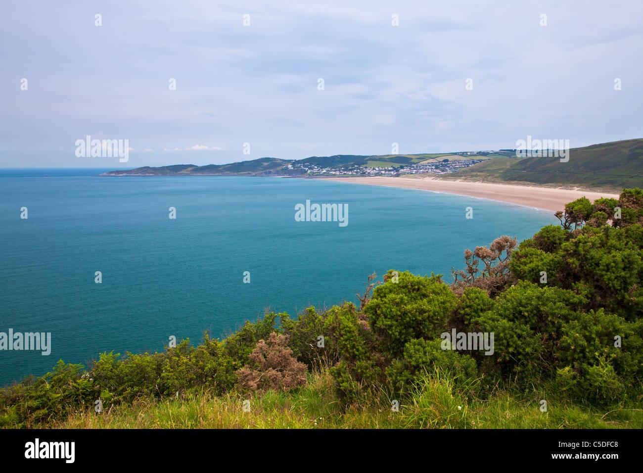 Vue vers Woolacombe Sands Woolacombe et prises à partir de la côte près de Croyde, North Devon, England, Photo Stock